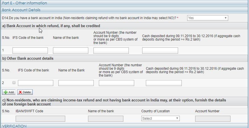 Bank Details for ITR I