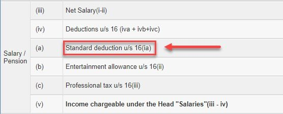 standard deduction u/s 16(ia)