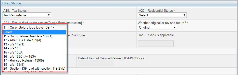 Return filled under section A 21
