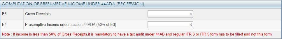 computation of presumption income under 44ADA