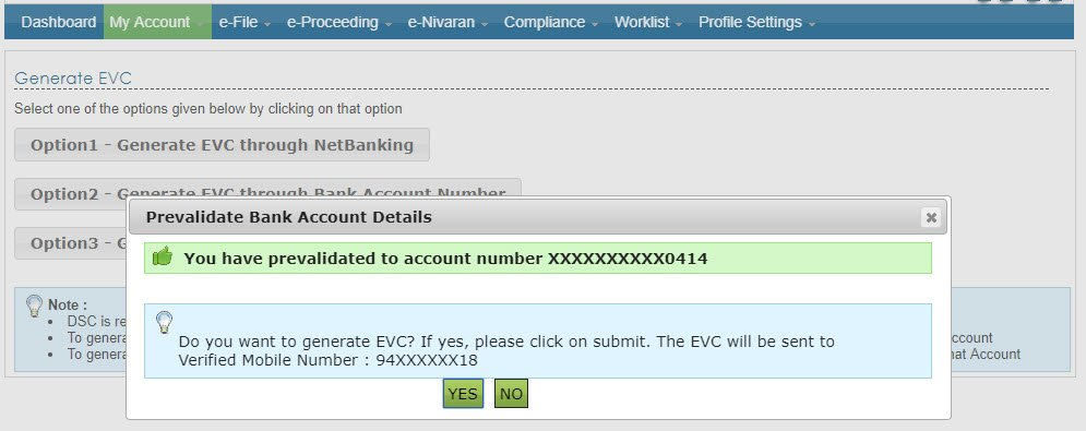 Generate EVC bank
