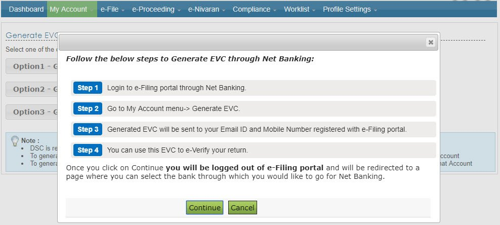 Generate EVC through net banking