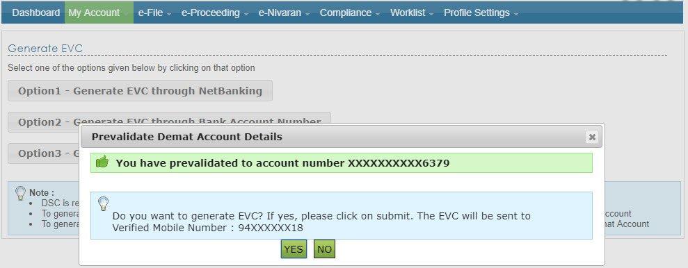 generate EVC demat