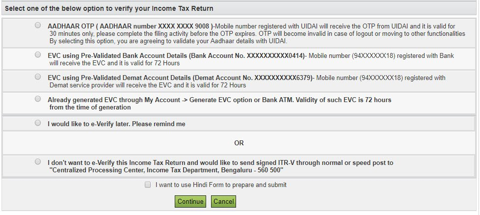 options to verify your income tax return