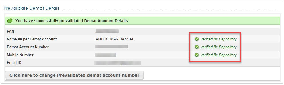 prevalidate your demat account details done