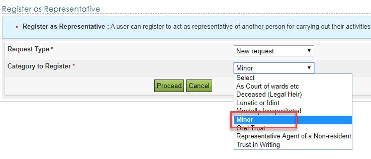 Register as representative for minor